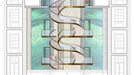Internal view of the drum which comprises a newly proposed circulation core with feature stair & lift, together with feature glass to emulate the original Diorama