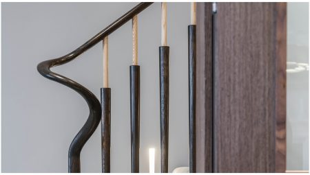 Solid timber handrail, volute spindle, sculpted volute spindle, two-tone spindles, two-tone timber spindles