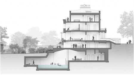 key architecture section through dwelling in conservation area showing basement pool and internal renovation