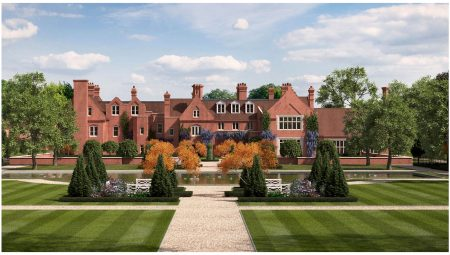Detached country house that is Grade II listed, with tal brick chimney stacks, dormers and a red tiled roof