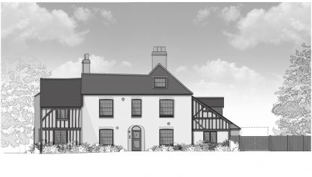 Grey scale drawing of 15th century detached property showing post-and-beam construction method on the original Pre-Elizabethan parts of the property