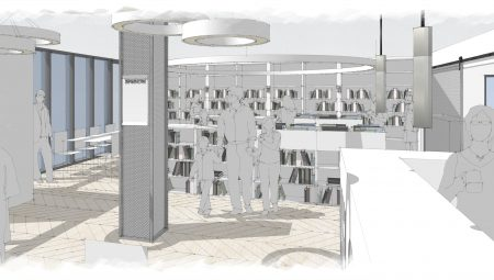 The welcome desk is doubling up as café counter, extending the appeal to a wider audience, making the library a destination and local community hub